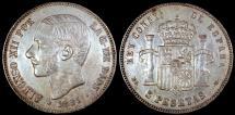 World Coins - 1885 (87) MS-M Spain 5 Peseta - Alfonso  XII - AU