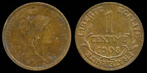 World Coins - 1908 France 1 Centimes AU
