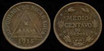 World Coins - 1915 H Nicaragua 1/2 Centavo XF