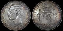 World Coins - 1878 (78) DE-M Spain 5 Pesetas - Alfonso XII - AU