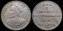 World Coins - 1929 Panama 2-1/2 Centesimos - Vasco Nunez de Balboa - AU