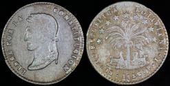 World Coins - 1856 PTS-FJ Bolivia 1 Sol - Simon Bolivar - AU Silver