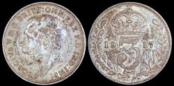 World Coins - 1917 Great Britain 3 Pence - George V - XF