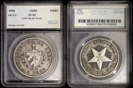 "World Coins - 1916 Cuba 1 Peso - ""Star Peso "" Low Relief Star - SEGS XF40"