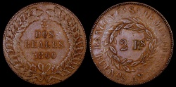 World Coins - 1860 Argentina (Buenos Aires) 2 Reales VF