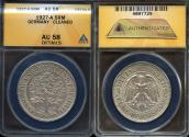 "World Coins - 1927 A Weimar Republic 5 Reichsmark ""Oak Tree"" ANACS AU58"