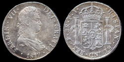 World Coins - 1817 PTS-PJ Bolivia 8 Real - Ferdinand VII - AU
