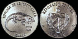 World Coins - 1985 Cuba 1 Peso - Cuban Rock Iguana - Wildlife Preservation - BU (Only 3,000 Pieces Were Struck)