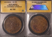 Us Coins - 1876 United States Centennial Exposition, Philadelphia, Pennsylvania Medal (S0-Called Dollar) ANACS AU55