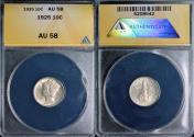 Us Coins - 1925 Mercury Dime - ANACS AU58