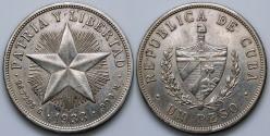 """World Coins - 1933 Cuba 1 Peso - """"Star Peso"""" - AU Silver"""