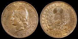 World Coins - 1891 Argentina 2 Centavos AU