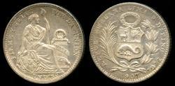 World Coins - 1907 FG-JF Peru 1 Dinero BU
