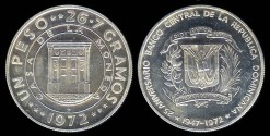 World Coins - 1972 Dominican Republic 1 Peso - 25th Anniversary of the Central Bank Silver Commemorative Proof