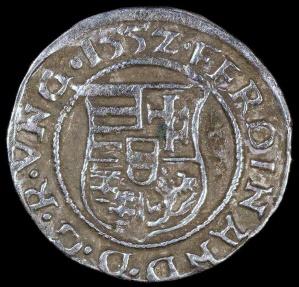 World Coins - 1552 KB Hungary 1 Denar - Ferdinand I - AU Silver