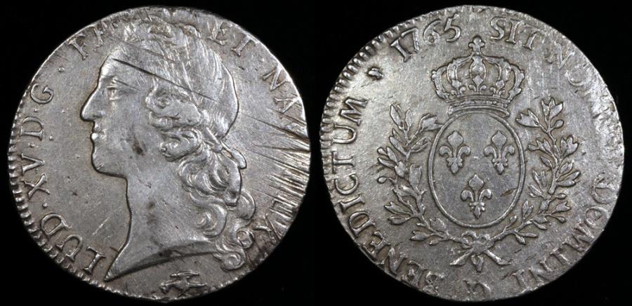 World Coins - 1765 D France 1 Ecu - Louis XV - Lyon Mint - XF