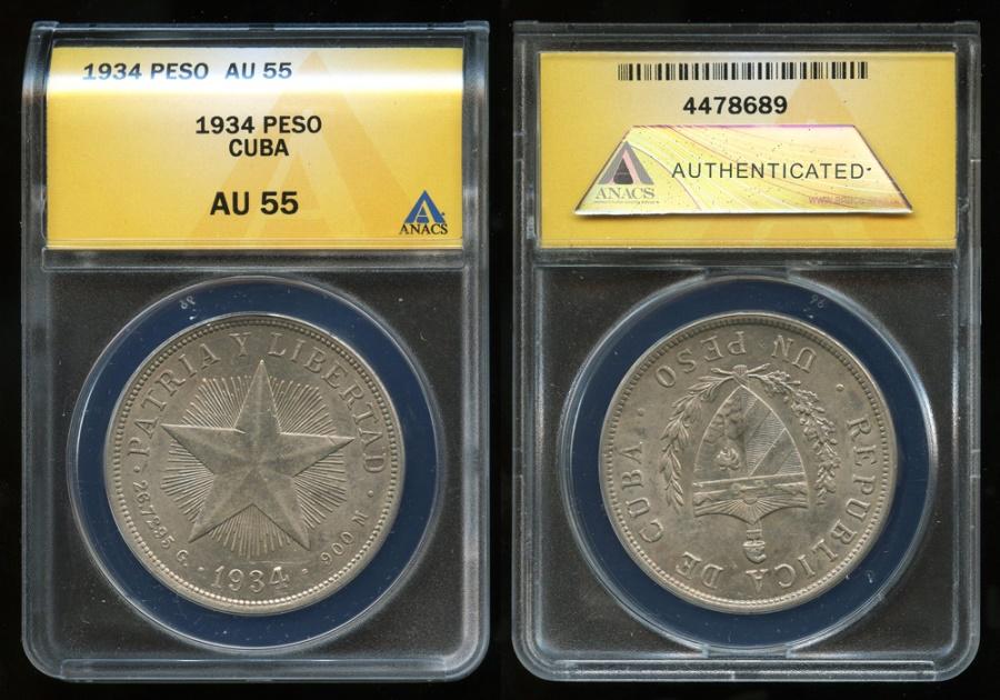 "World Coins - 1934 Cuba 1 Peso - ""Star Peso"" ANACS AU55"