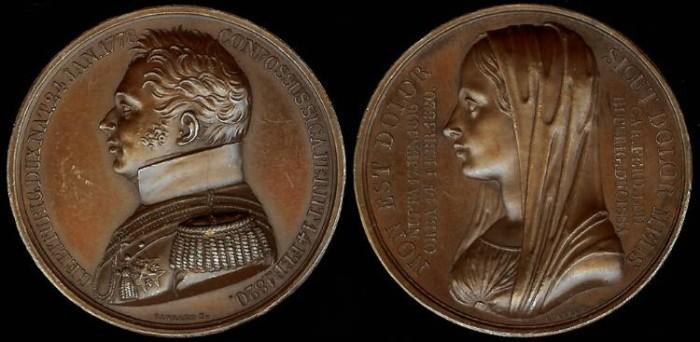 "World Coins - 1820 France - Charles Ferdinand, duc de Berry ""Death Medal"""