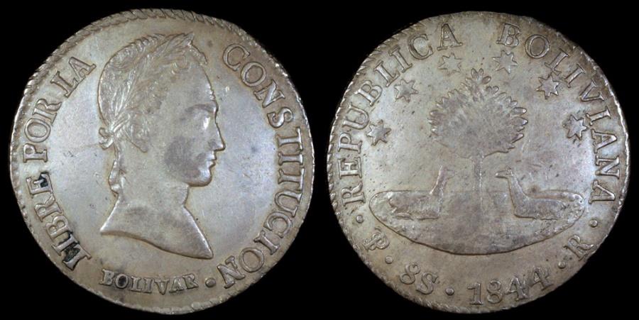 World Coins - 1844 PTS-R Bolivia 8 Soles AU