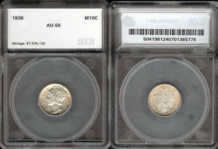 US Coins - 1936 Mercury Dime SEGS AU55