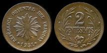 World Coins - 1951 So Uruguay 2 Centesimos UNC