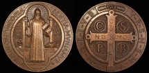 World Coins - 1880 France - Medal or Cross of Saint Benedict - Designed and struck in 1880 under the supervision of the monks of Montecassino, Italy, to mark the 1400th anniversary of his birth