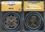 """World Coins - 1960 Great Britain Crown """"British Exhibition in New York"""" - ANACS MS60 - Looks Proof-like"""