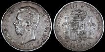 1871 (74) DE-M Spain 5 Pesetas - Amadeo I - XF