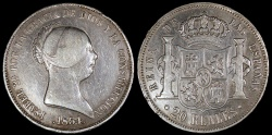 "World Coins - 1854 Spain 20 Reales - ""Isabel II"" - VF"