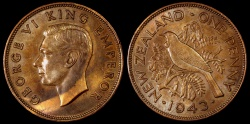 World Coins - 1943 New Zealand 1 Penny AU