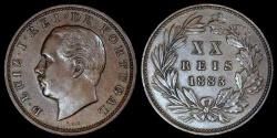 World Coins - 1883 Portugal 20 Reis - Luiz I - AU