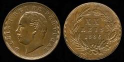 World Coins - 1886 Portugal 20 Reis BU