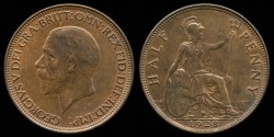 World Coins - 1928 Great Britain 1/2 Penny AU