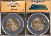 """World Coins - 1930 A Weimar Republic (Germany) 3 Reichsmark """"700th Anniversary - Death of Von Der Vogelweide"""" Silver Commemorative ANACS MS63"""