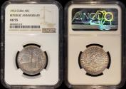 """World Coins - 1952 Cuba 40 Centavos - """"50th Year of the Republic"""" Silver Commemorative NGC AU55"""