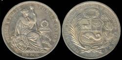 World Coins - 1895 TF Peru 1 Sol AU