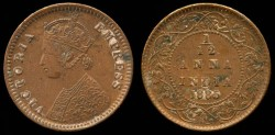 World Coins - 1885 India (British) 1/12 Anna AU