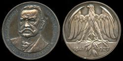 World Coins - 1927  Germany - President Paul von Hindenburg 8Oth Birthday Medal by Ludwig Christoph Lauer