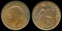 World Coins - 1936 Great Britain 1/2 Penny AU