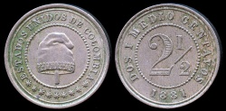 World Coins - 1881 H Colombia 2-1/2 Centavos XF