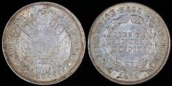 World Coins - 1871 PTS-ER Bolivia 10 Centavos - Overstruck Legends - UNC Silver