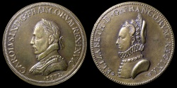 World Coins - 1572 France - King Charles IX and Queen Elizabeth of Austria Commemorative medal by Germain Pillon