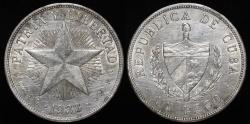 World Coins - 1933 Cuba Star Peso AU