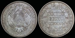 World Coins - 1878 PTS-FE Bolivia 20 Centavos - UNC Silver