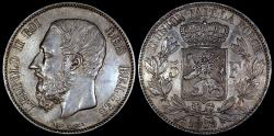 World Coins - 1869 Belgium 5 Franc - Leopold II - AU