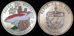 World Coins - 1994 Cuba 1 Peso - Multi-colored Yellow Sea Bass - Caribbean Fauna - BU (Only 25,000 Pieces Were Struck)