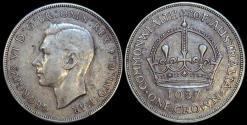 World Coins - 1937 Australia 1 Crown - George VI - AU
