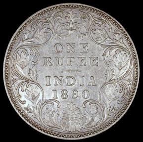 World Coins - 1890 B India (British) 1 Rupee - Queen Victoria - AU Silver