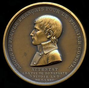 World Coins - 1800 France – Napoleon – Napoleon's Assassination Attempt Commemorative Medal by Henri Auguste