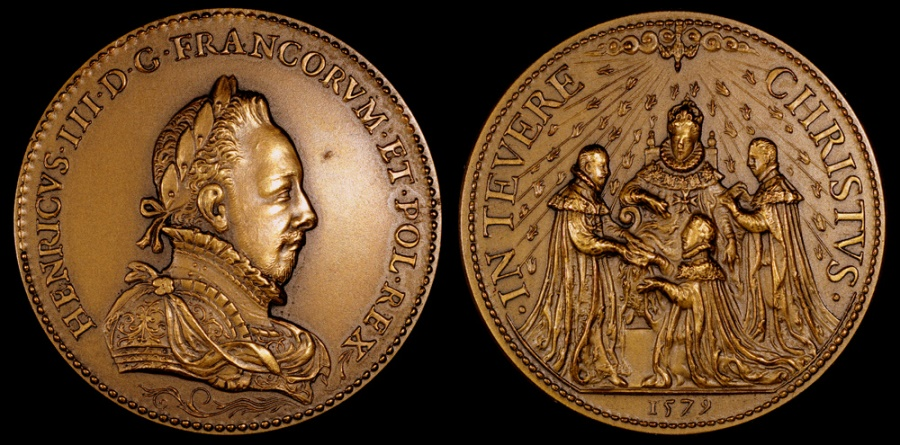 World Coins - 1579 France - King Henri III - Foundation of the Order of the Holy Spirit by Claude de Hery